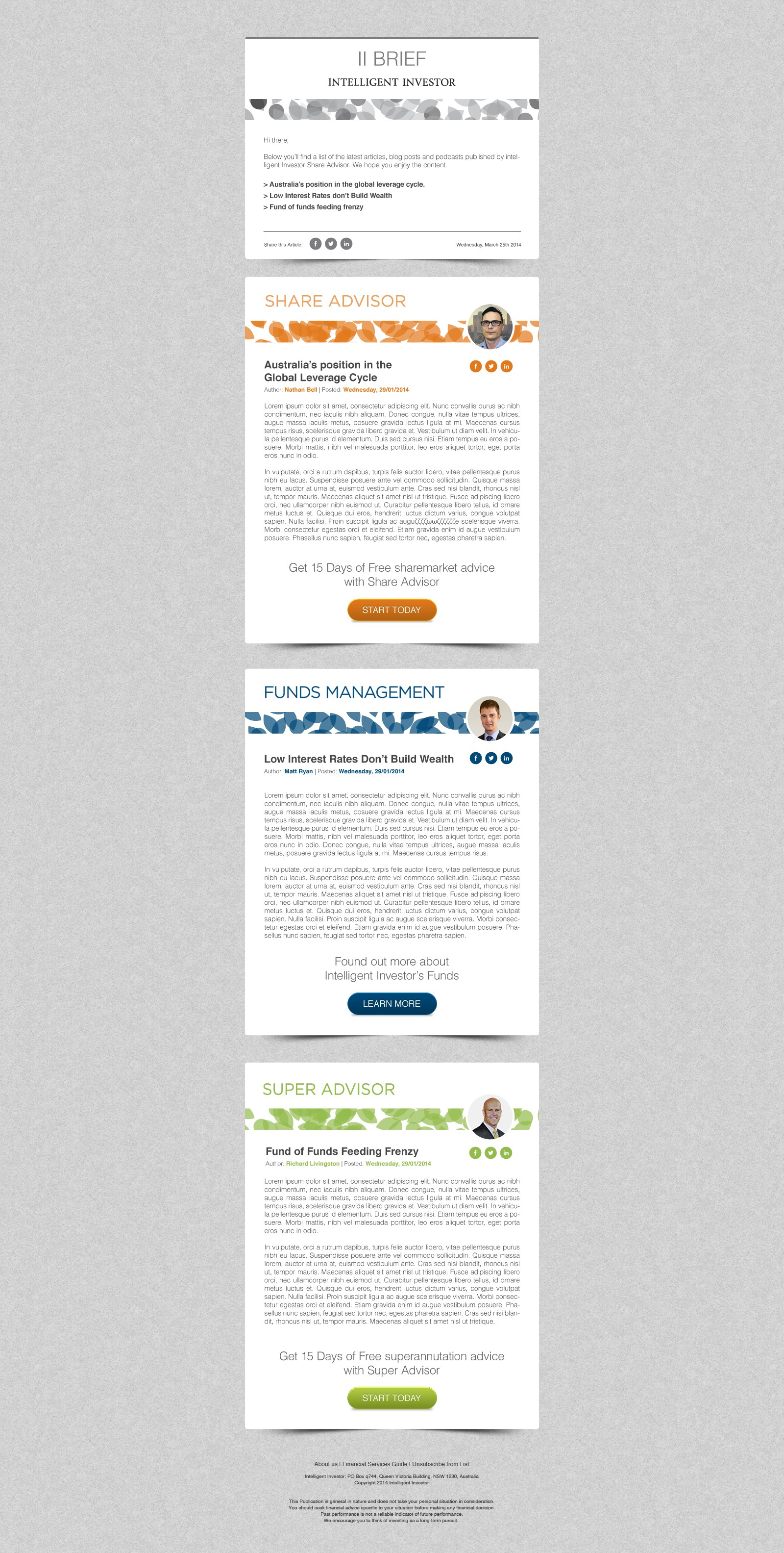 Create a weekly email newsletter template for Intelligent Investor