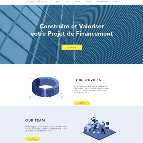 Landing page for financial bussines