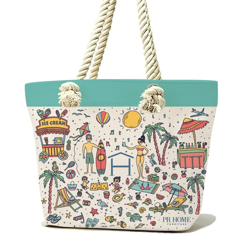 illustration for summer beach bag