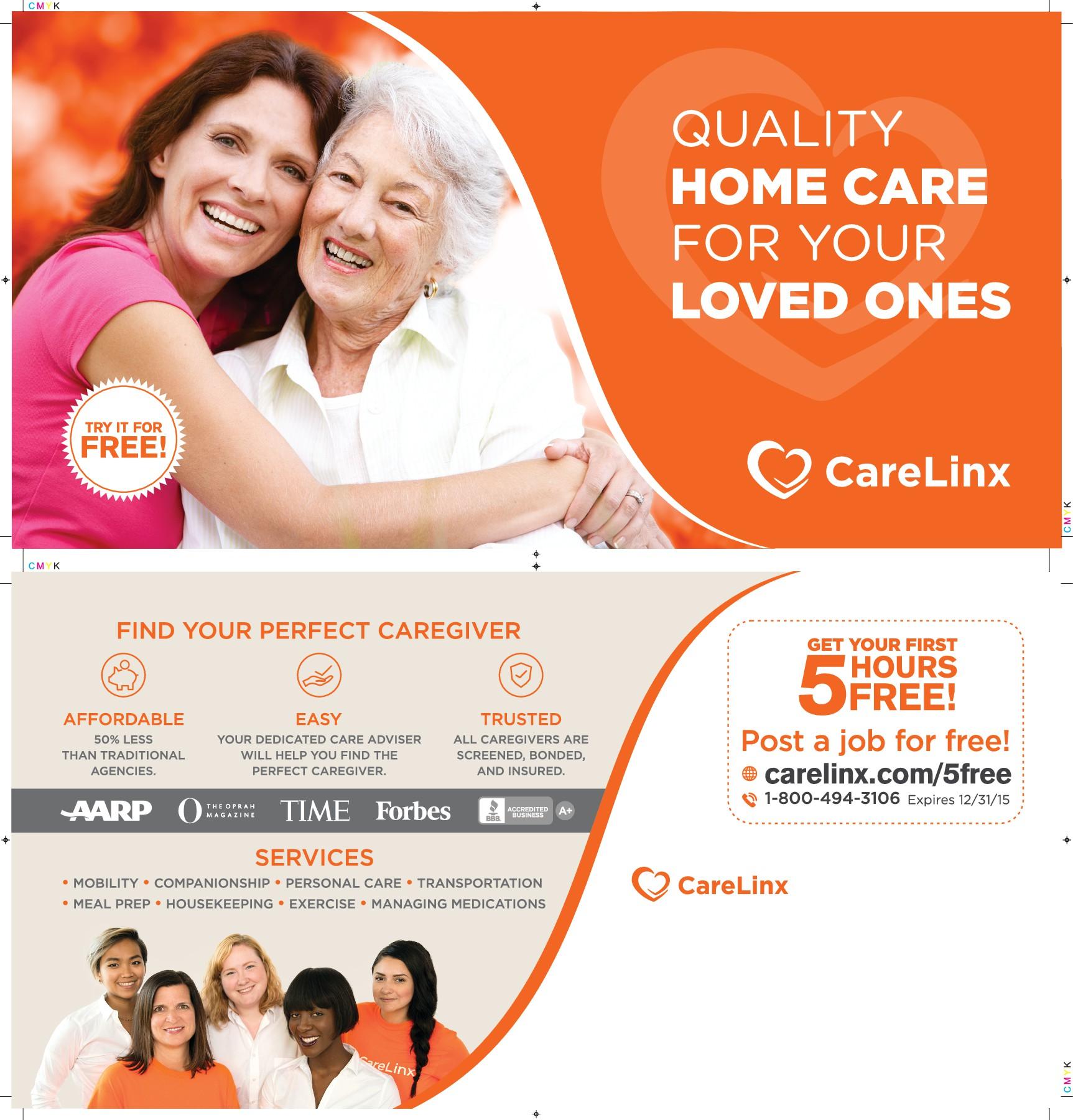 Create a postcard advertisement for an eldercare company