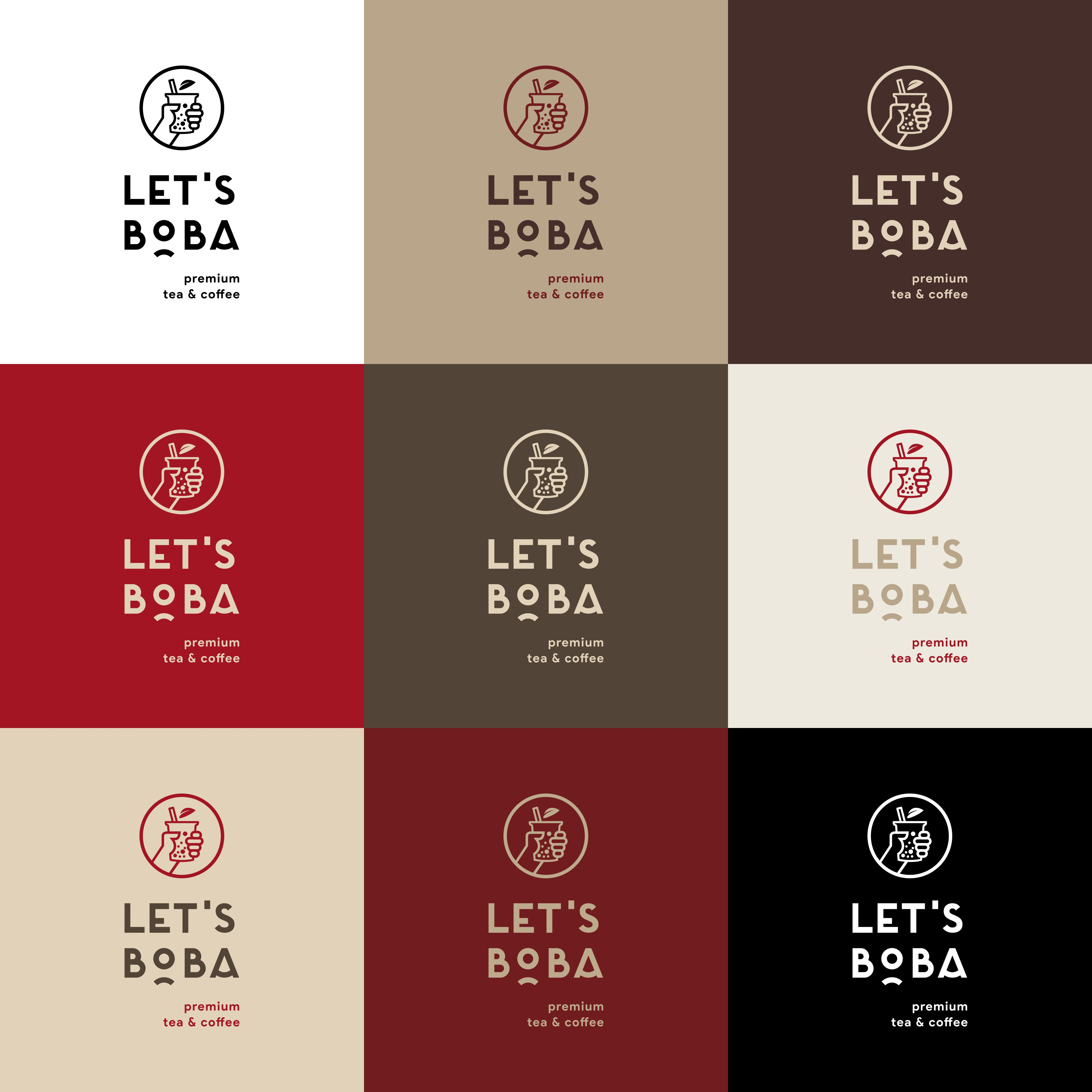 Logo for drinks of boba milk tea and coffee