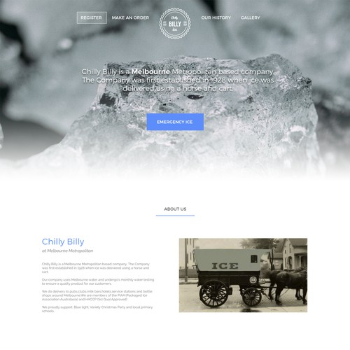 landing page design for ice company