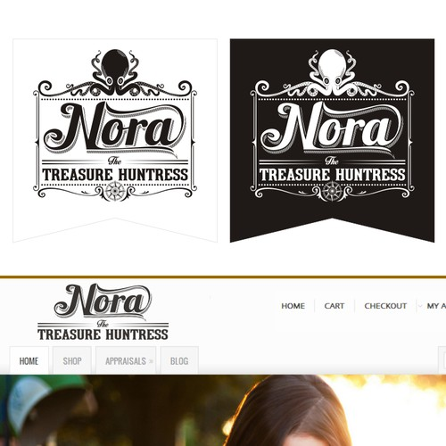 Create the next logo for Nora the Treasure Huntress