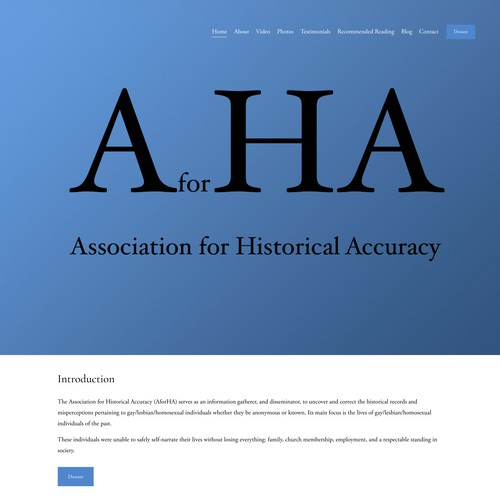 Association for Historical Accuracy Squarespace Website