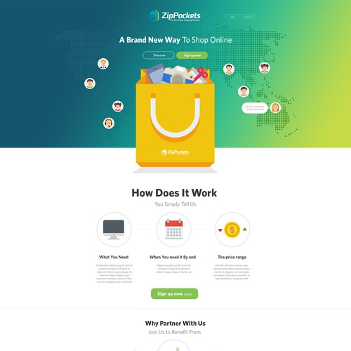 ZipPockets - landing page