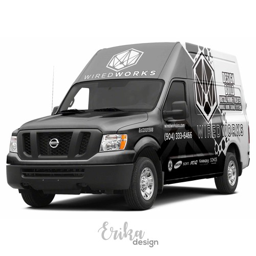 Matte Grey Custom Nissan 2500 High Top Electronics Company Wrap