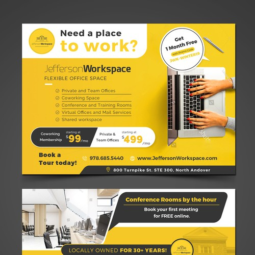 Postcard design for Jefferson Workspace