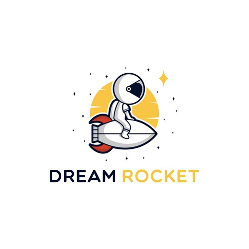 Playful astronaut logo design