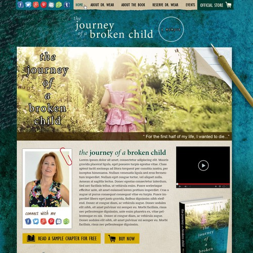 Home page design for an upcoming book