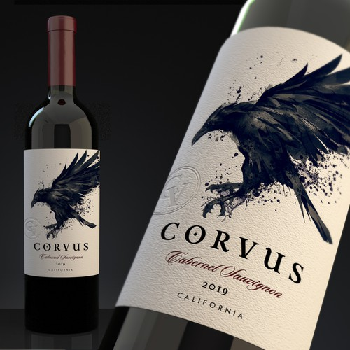 "Create a powerful new wine label ""Corvus"""