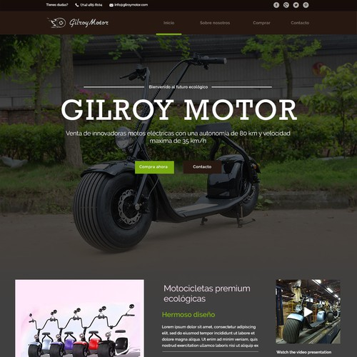 Eco Electric Motorcycle landing page