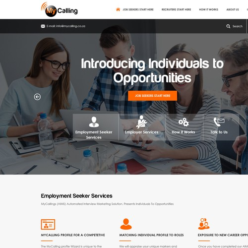 Landing page-MyCalling assists job seekers with a digital portal