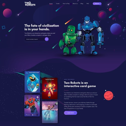 Two Robots Landing Page Design