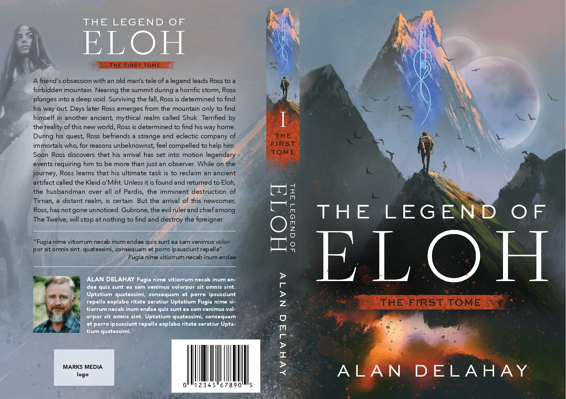 Design an amazing book cover for mythical fiction trilogy & film