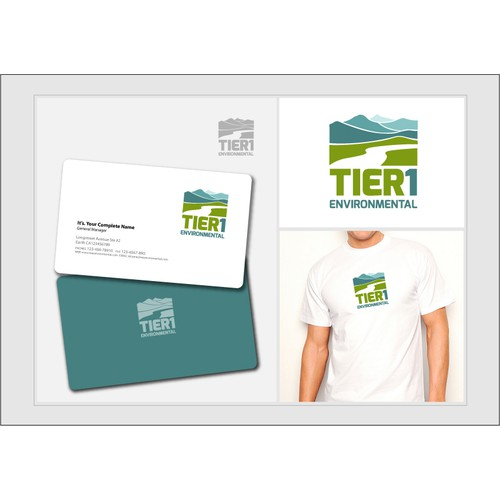 "Create the next logo and business card for ""Tier 1"" or ""Tier 1 Environmental"""