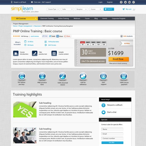 A leading online education training portal needs a new web2.0 based website re-design