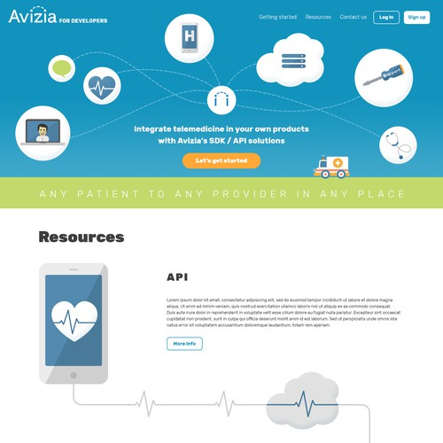 Homepage for telemedicine service