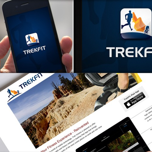Creative Logo of a virtual fitness experience among famous treks.