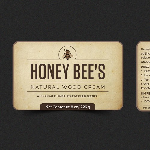 Label design for natural wood cream
