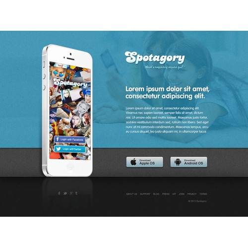 landing page for Spotagory