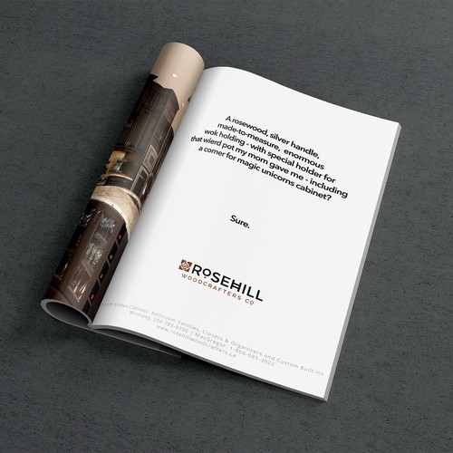 Winning Print Ad for Custom Kitchen Cabinet Company