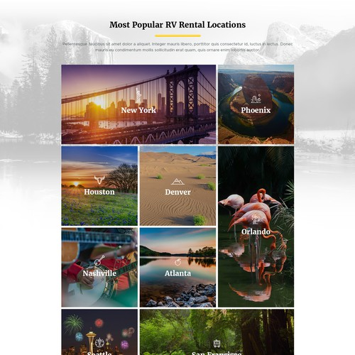 Homepage Design for RV Rentals Website