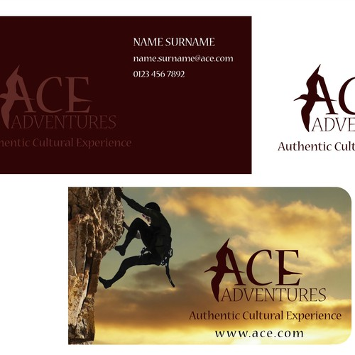 logo and business card for ACE Adventures
