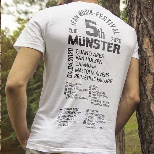 Back of t-shirt with the festival schedule