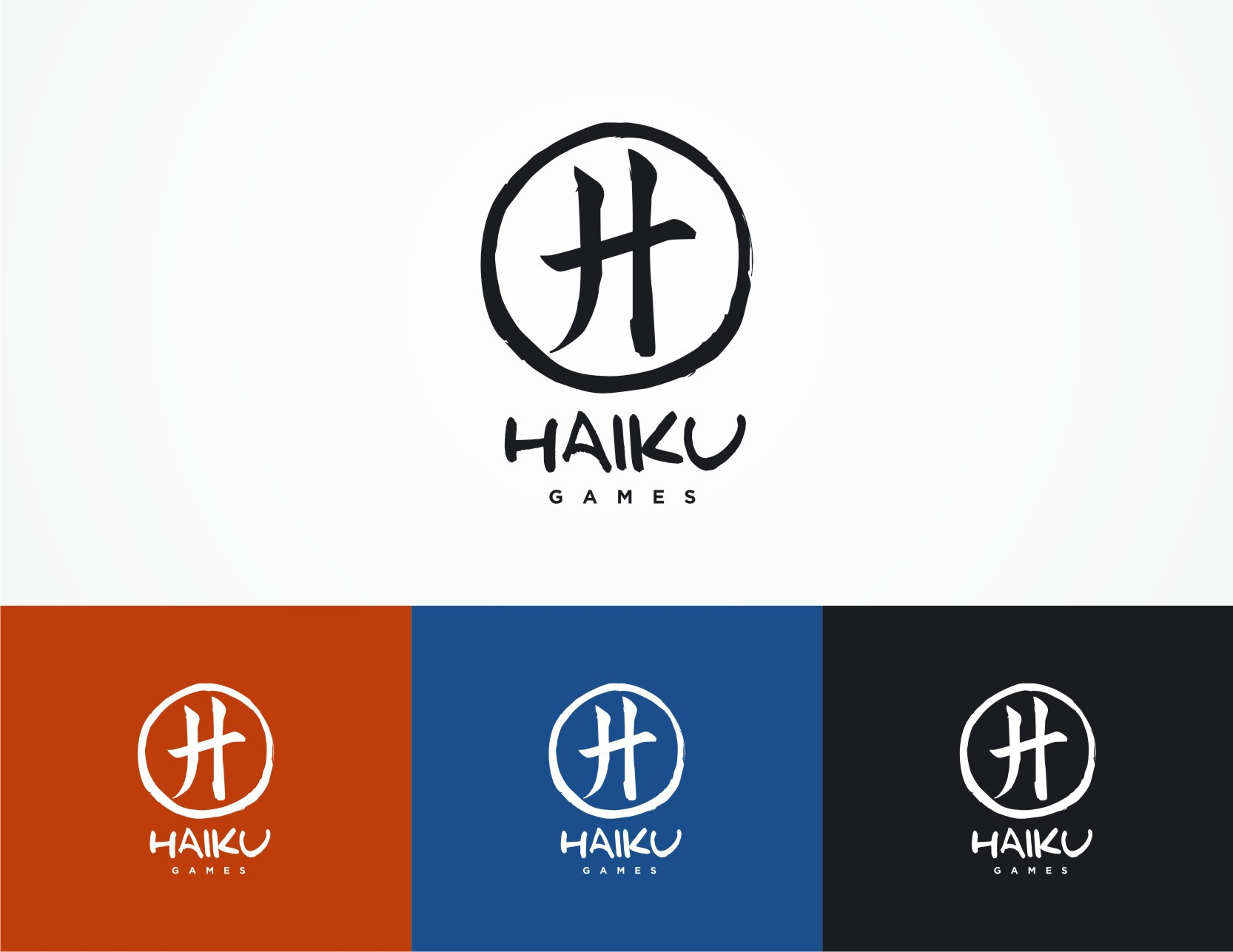 Create a simple and beautiful logo for Haiku Games, a mobile game company