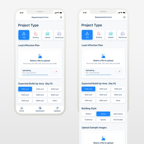Clean and modern iOS app design for construction company