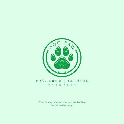 Make a dog safekeeping logo, in a modern style.