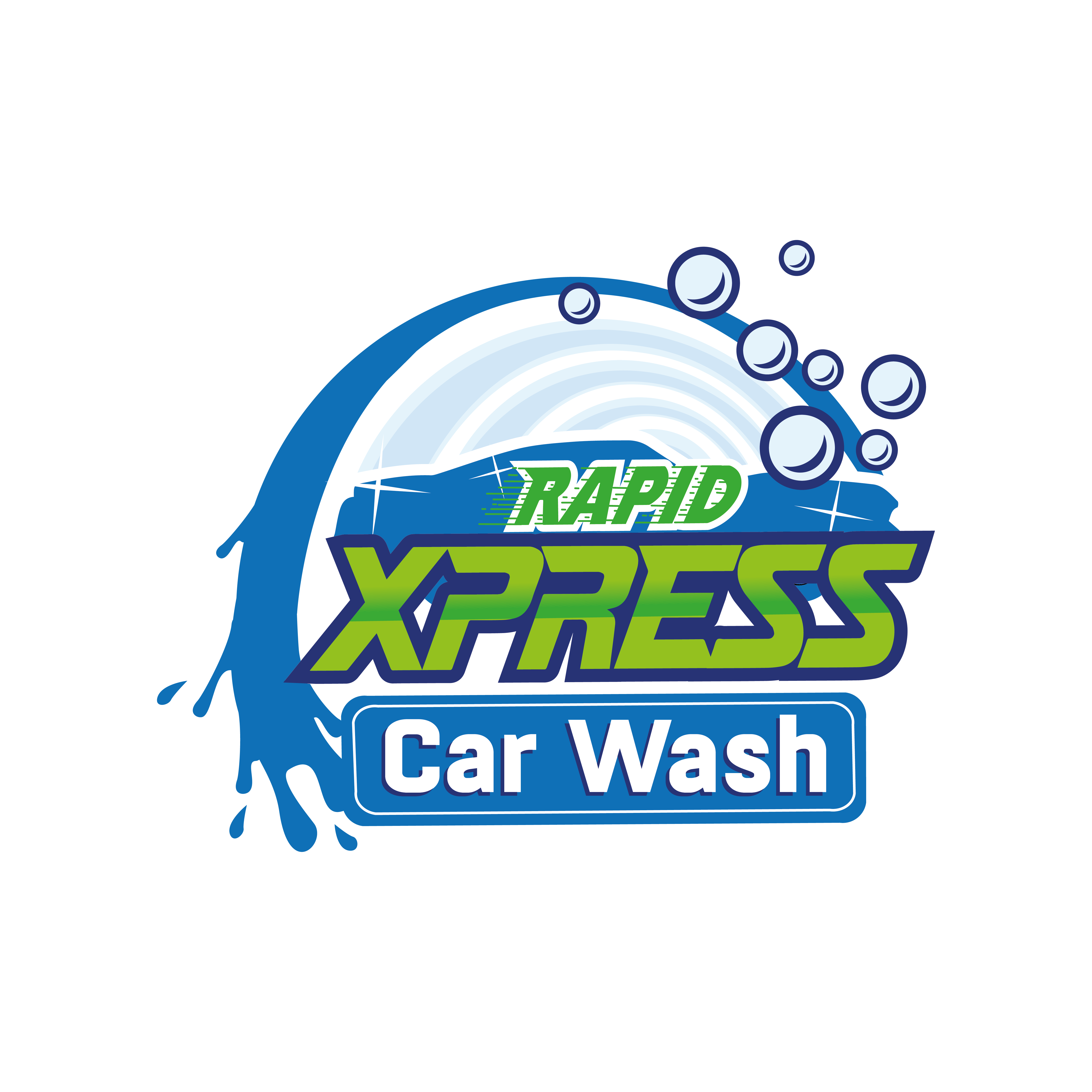 Create a captivating logo for a car wash. Something that would look great on a car wash building, billboards,car sticker