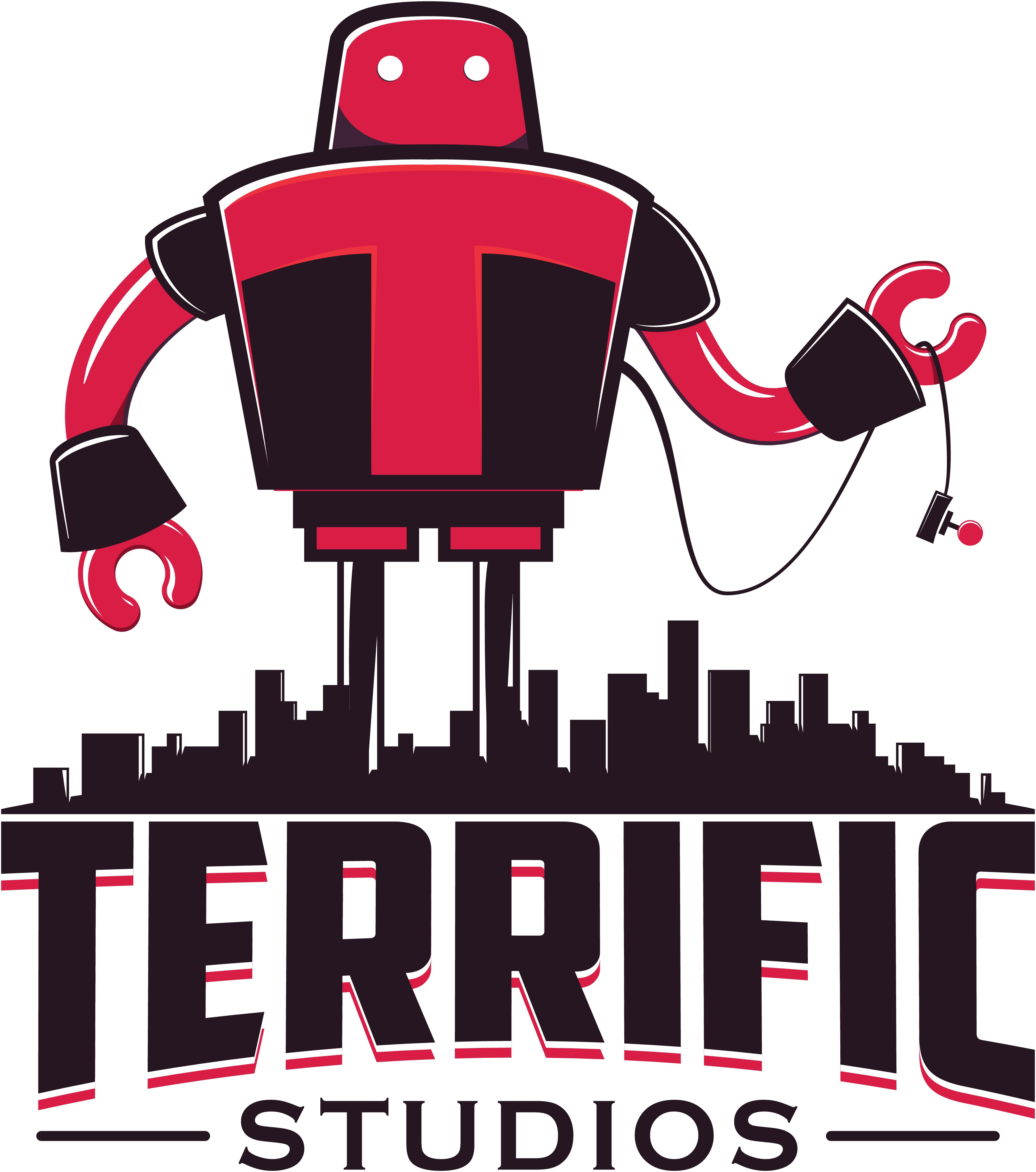 """Classic fun"" logo for casual, mobile, retro arcade game makers Terrific Studios."