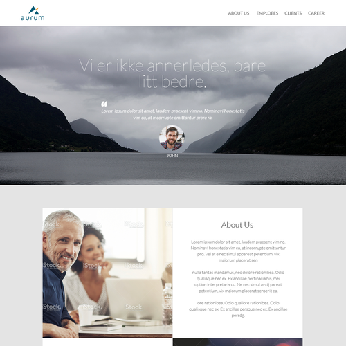 website design for high quality senior consultancy Aurum AS