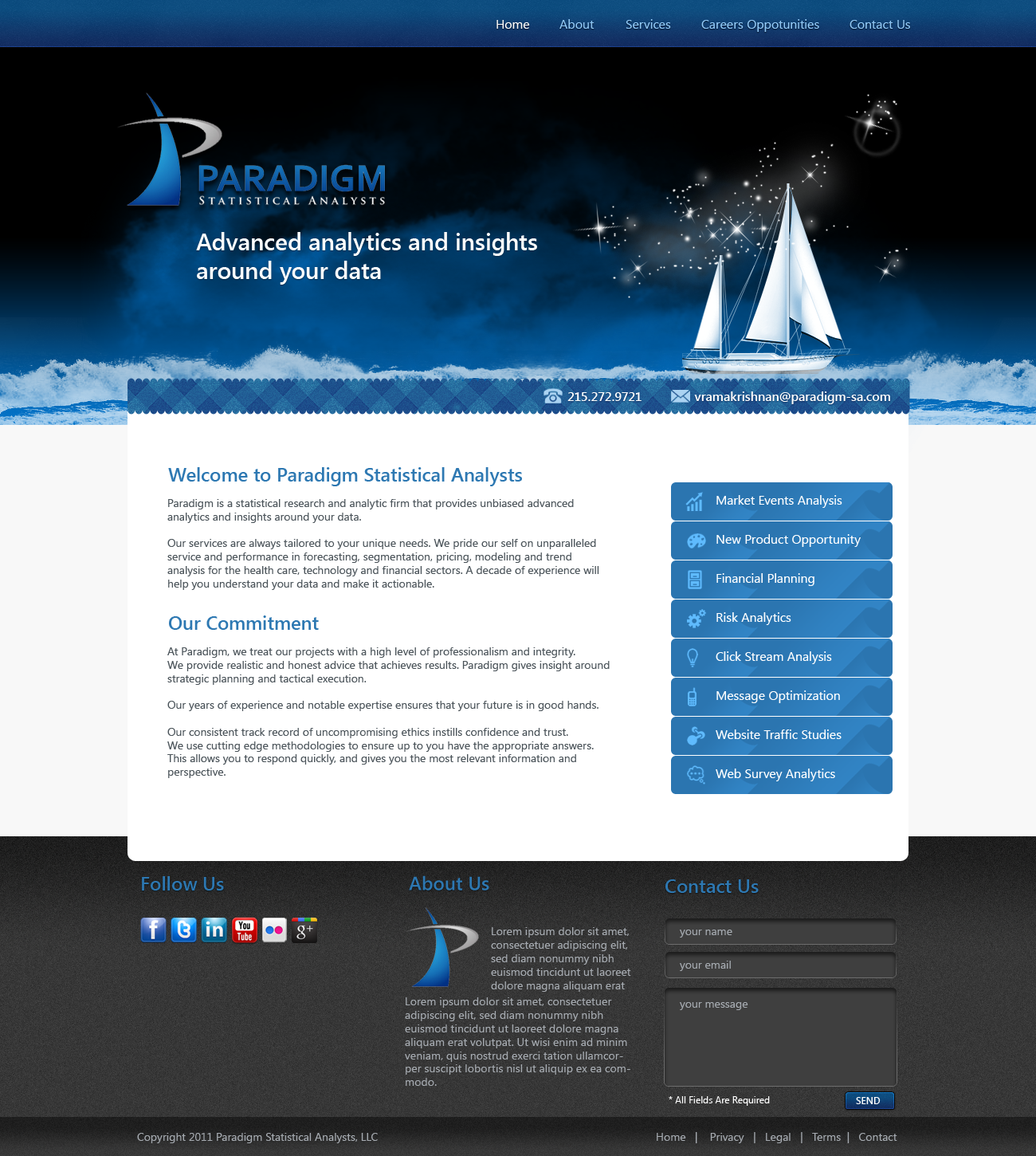 New website design wanted for Paradigm Statistical Analysts