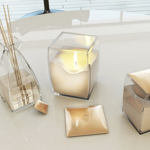 Candle glass vessel, design and visualization