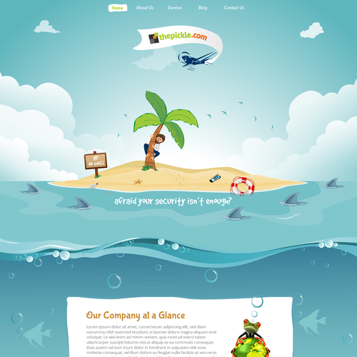 Deserted island scene for a fun technology company