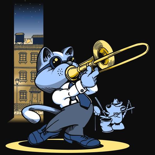 Jazz Trombone Cat