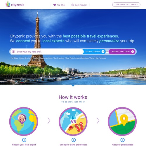 Cityzenic helps people travel better. Design a website that supportsthat vision