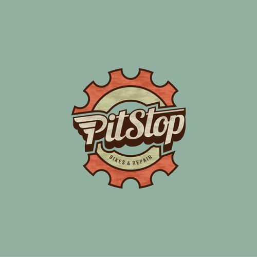Cool retro bike shop logo