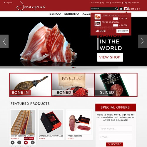New website design for jamonprive: Structure already set in the specs.