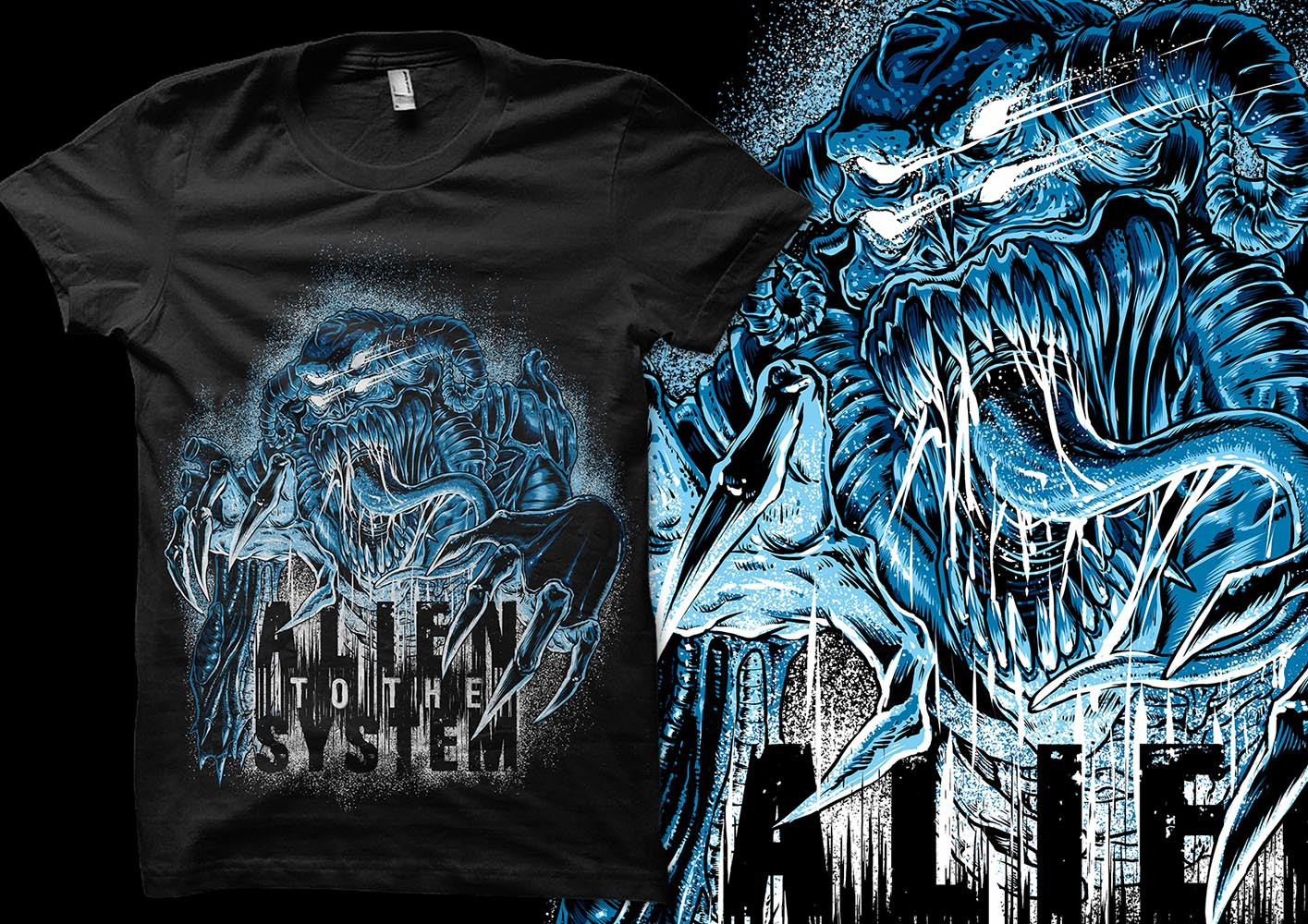 create an extraterrestrial design for a german metal band