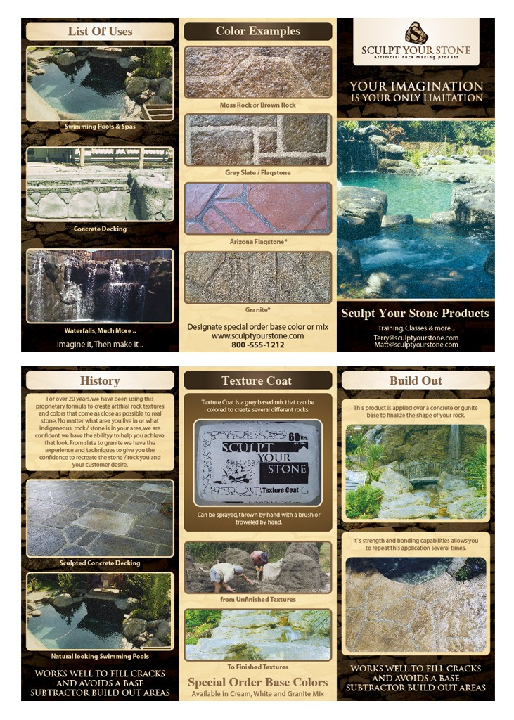 Sculpt Stone needs a new 3 Fold Brochure & Logo design for their Awesome Natural Stone Product!!  Check out the Photos in the De