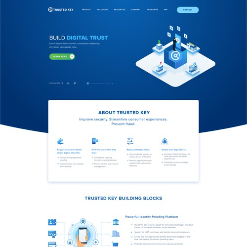 Home page for technology startup