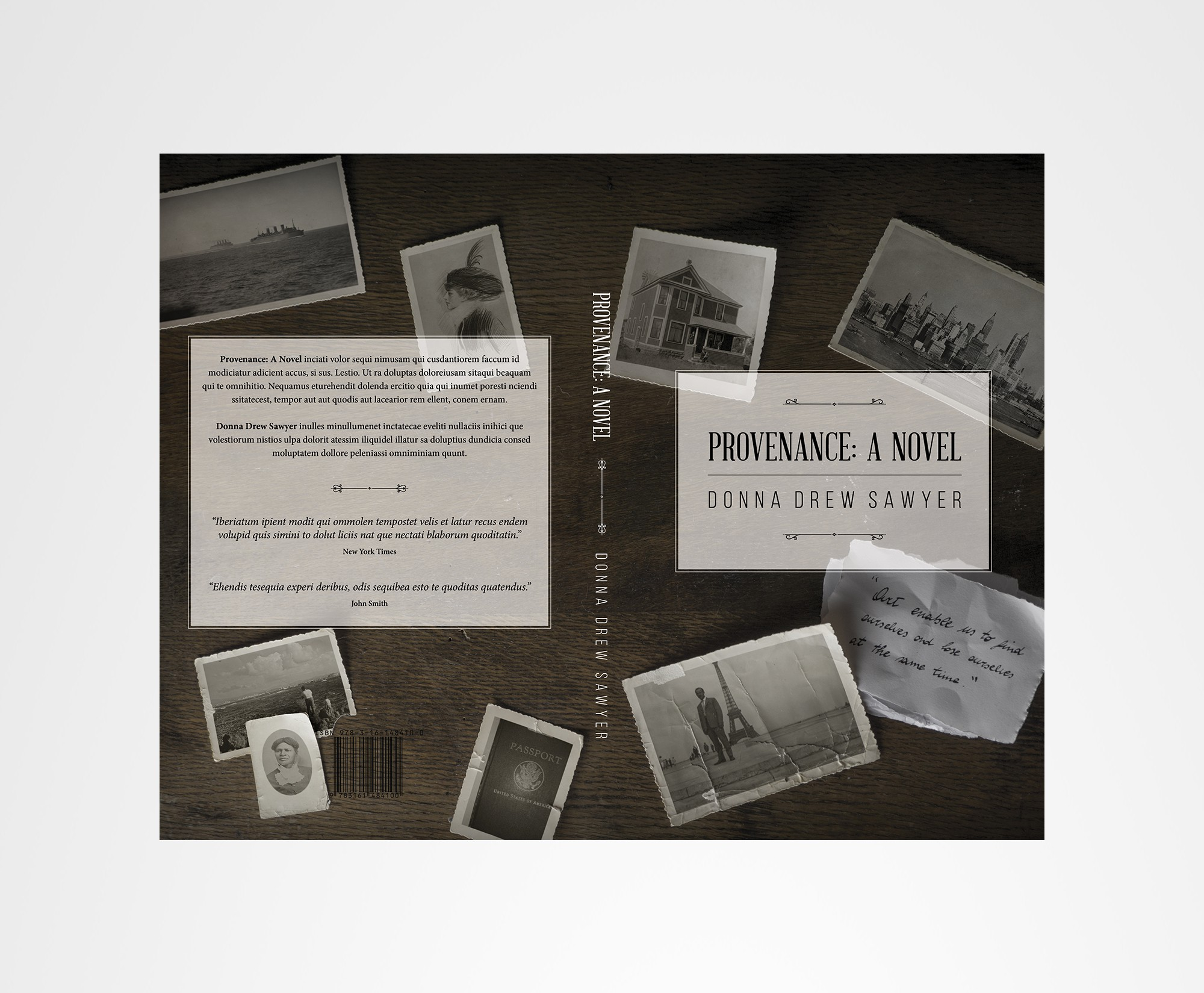 Create a compelling book cover for Provenance: A Novel
