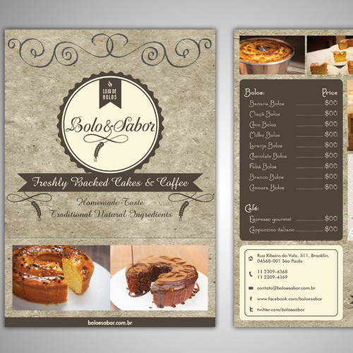 Create the next postcard or flyer for Bolo & Sabor