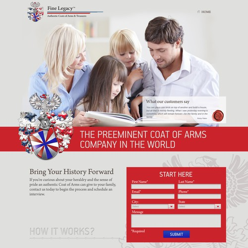 Craft a Landing Page worthy of Legend for the Coats of Arms experts @Fine Legacy