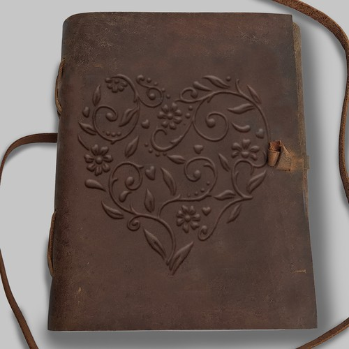 Vintage Heart Design for a Rustic Leather Journal