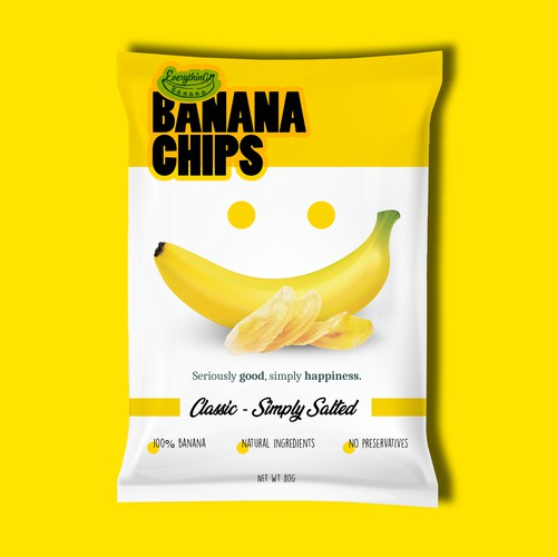 Powerful packaging for banana chips.