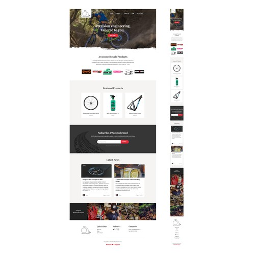 Website design concept for an e-commerce bike store